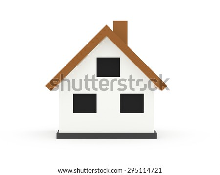 A small houses business icon with orange roof on a white background