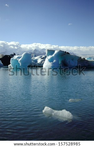 A small iceberg in the foreground Jokulsarlon lagoon Iceland - stock photo