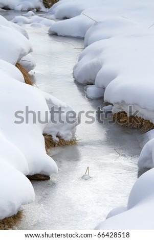 A small icy mountain torrent after a frozen winter night. Brixia province, Lombardy region, Italy