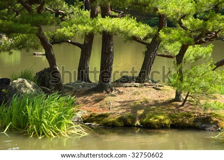 A small island on the lake near the famous Golden Pavilion (Kinkakuji) in Kyoto (Japan)