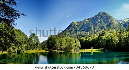 a small lake in the Alps near Oberstdorf - stock photo
