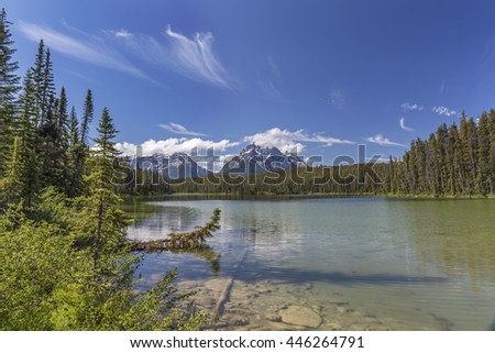 A small lake surrounded by the Rocky Mountains and boreal forest - Jasper National Park, Alberta, Canada - stock photo