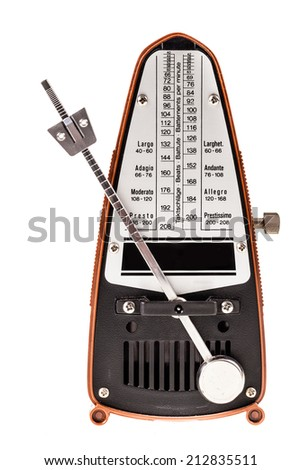 a small metronome isolated over a white background - stock photo