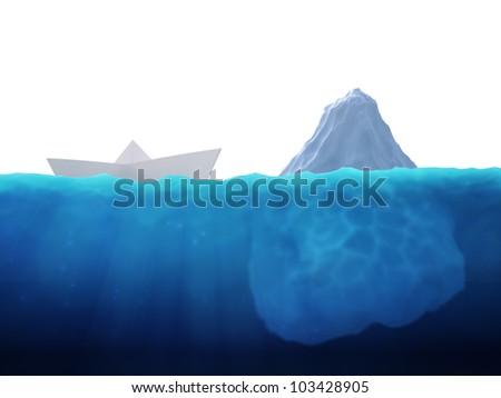 A small paper ship heading into an iceberg - stock photo