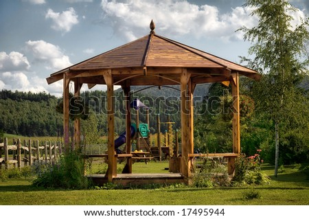 A small park on a sunny day in summer - stock photo