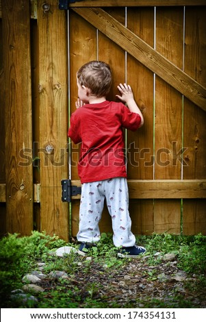 A small peeping toddler peers out of a hole in the fence at the world beyond his backyard.  - stock photo
