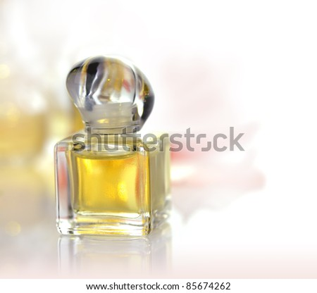 a small perfume bottle on white background - stock photo