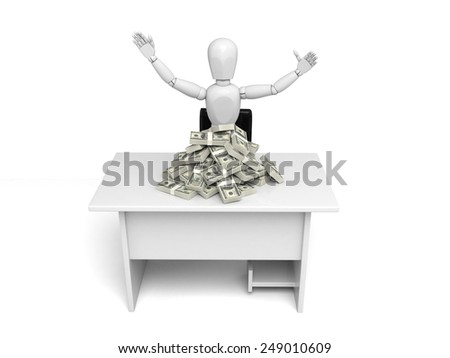 A small person with a pie of dollars. 3d image. Isolated white background - stock photo