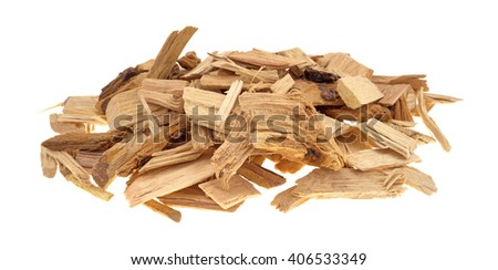 A small pile of hickory wood smoking chips for flavoring barbecue and grilled foods isolated on a white background.