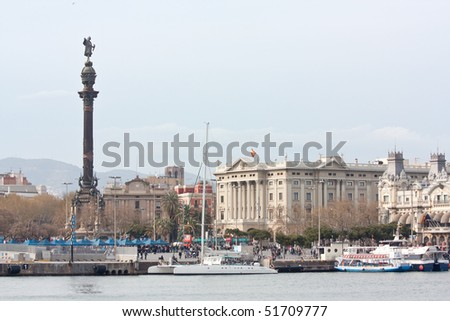 "A small portion of Barcelona's ""Port Vell"" (old port). We can see Columbus monument, which is located at the low end of the ""Ramblas"". - stock photo"