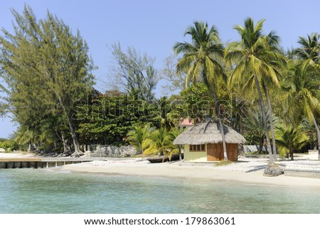 A small, pristine thatched hut on the Caribbean Sea surrounded by palms and other trees. - stock photo