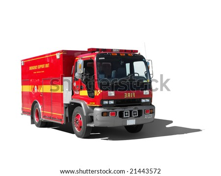 A small red fire truck isolated on white.