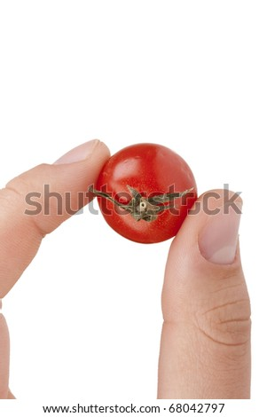 A small red tomato in the men's hand. - stock photo