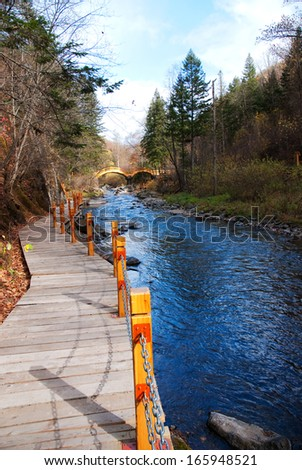 a small river in mountain, Jilin Province, China - stock photo