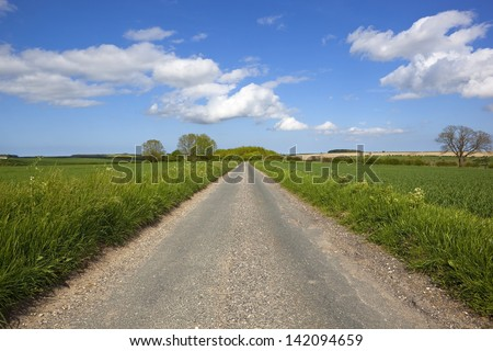 a small rural road in the yorkshire wolds england going through scenic farmland under a blue cloudy summer sky