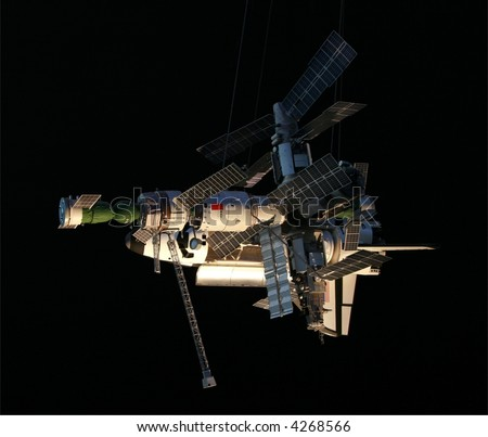 "A small-scale model of the russian space station ""Mir"""