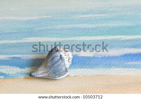 A small seashell laying on a painted texture of waves.