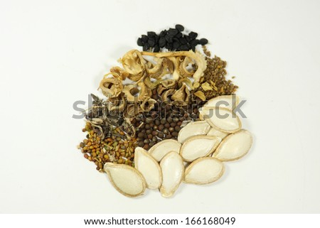 A small selection of seeds for the home garden. - stock photo