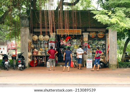 A small shop selling souvenirs on the streets of Hanoi - Vietnam