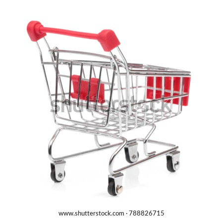 a small shopping cart isolated on white background
