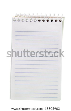 A small spiral bound pocket notebook isolated on white. - stock photo