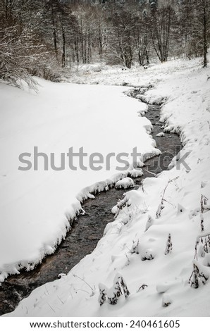A small stream running through a snowy landscape - stock photo