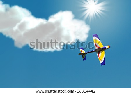 A small stunt plane doing tricks in the sky