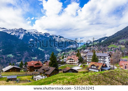 A small swiss village near the mountain in Switzerland