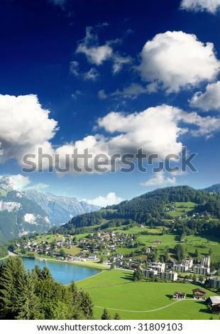 a small swiss village near titlis peak - stock photo