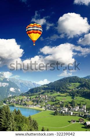 a small switzerland village near titlis peak - stock photo