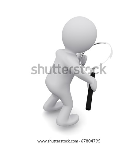 """A small three-dimensional people with a magnifying glass in hand. Series """"3D MAN"""" - stock photo"""