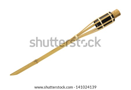 A small tiki torch for lighting or insect repellent on a white background. - stock photo