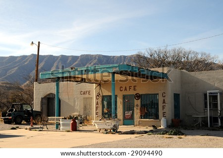A small traditional cafe on a desert road in rural Texas - stock photo