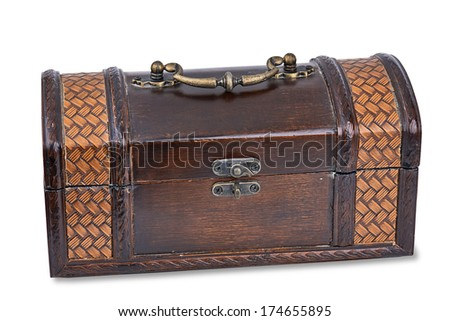 A small treasure chest (closed) isolated on a white background with light shadow.  - stock photo