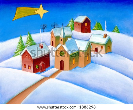 A small village in a snowy landscape. Christmas star visible in the sky. Hand painted illustration. - stock photo