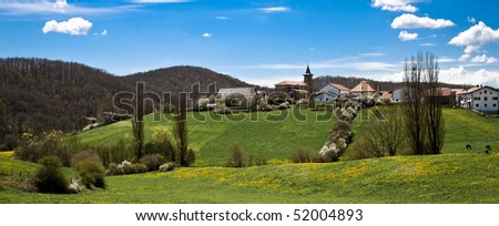 A small village in the spanish Pyrenees called Bizkarreta-Gerendiain in Navarre. - stock photo