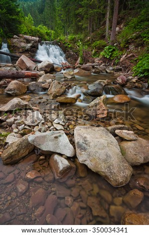 A small waterfall on the river in the Carpathians. Europe, Ukraine.