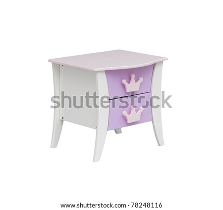 A small wooden cabinet for a girl bedroom - stock photo