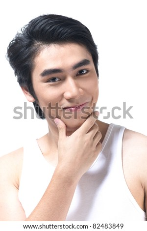 A smart man with cleaning face after shave - stock photo