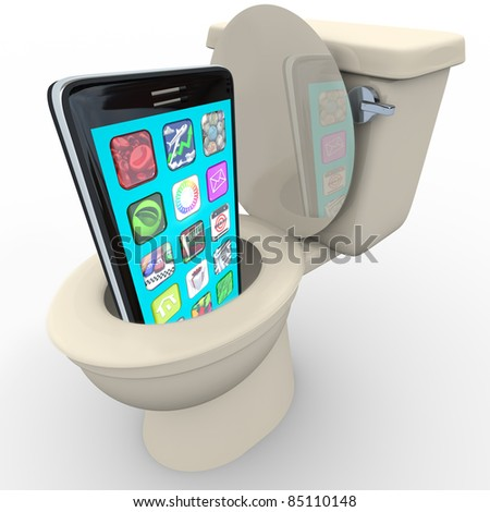 A smart phone with apps being flushed down a toilet symbolizing frustration with poor service, outdated and obsolete old model, in anticipation of replacement with new model cellphone - stock photo
