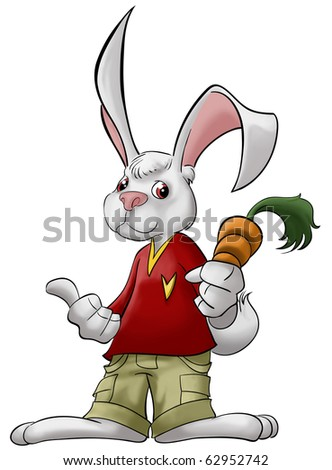 a smart rabbit with carrot in his hand - stock photo