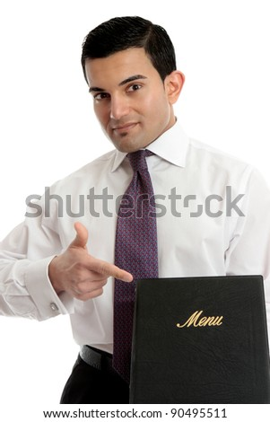A smartly dressed waiter or restaurnt owner pointing to a menu.  Could also be a presentation, brochure or other business item. - stock photo