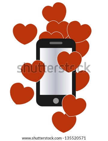 A smartphone with love hearts illustration - stock photo