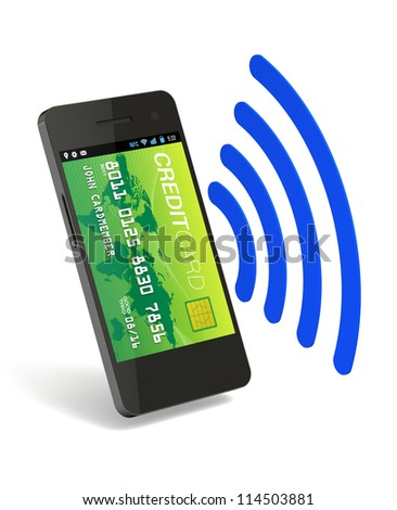 A smartphone with Near Field Communication (NFC) displaying a green world credit card on the front of the screen - stock photo