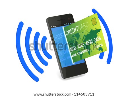 A smartphone with Near Field Communication (NFC) showing a plastic credit card going into the fron of the screen - stock photo