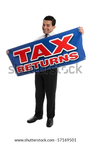 A smiling accountant, auditor or businessman holding a sign Tax Returns.   White background. - stock photo