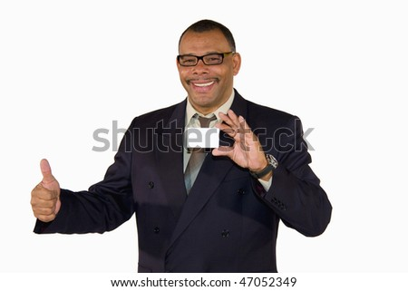 a smiling African-American mature businessman presenting a business card with copy space and posing thumbs up, isolated on white background - stock photo