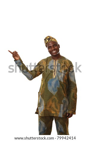 A smiling african american showing something, isolated on white - stock photo