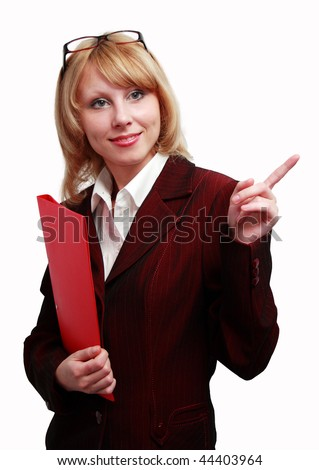 A smiling blonde in a business suit on white background. - stock photo