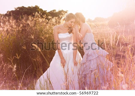 A smiling bride wearing a white wedding dress is listening to her bridesmaid in a rural landscape tell her a secret. Horizontal shot. - stock photo